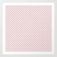 Taupe Polka Dots on Pink Art Print