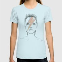 Moss X Bowie Womens Fitted Tee Light Blue SMALL