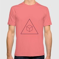 Delta Cubes Mens Fitted Tee Pomegranate SMALL