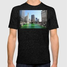Chicago River Green for St. Patrick's Day Mens Fitted Tee Tri-Black SMALL