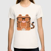 Hipster Tiger Art Print Womens Fitted Tee Natural SMALL