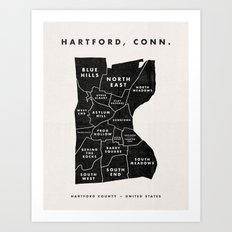 Hartford Map Art Print