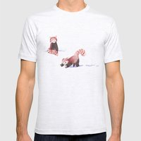 Red Pandas in the Snow Mens Fitted Tee Ash Grey SMALL