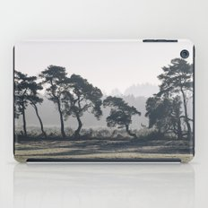 Trees lining a frosty field on a cold morning. Norfolk, UK. iPad Case
