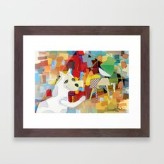 Bad Dog Cubism Framed Art Print