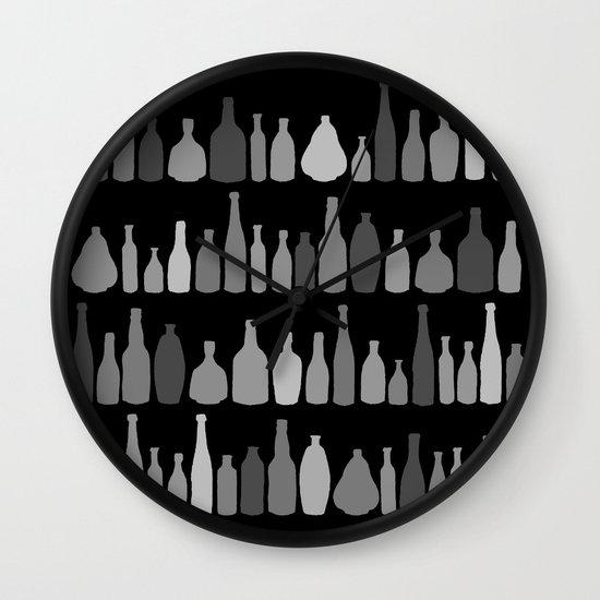 Bottles Black and White on Black Wall Clock