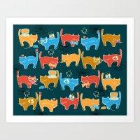 Geek Chic Cats {Nerds, C… Art Print