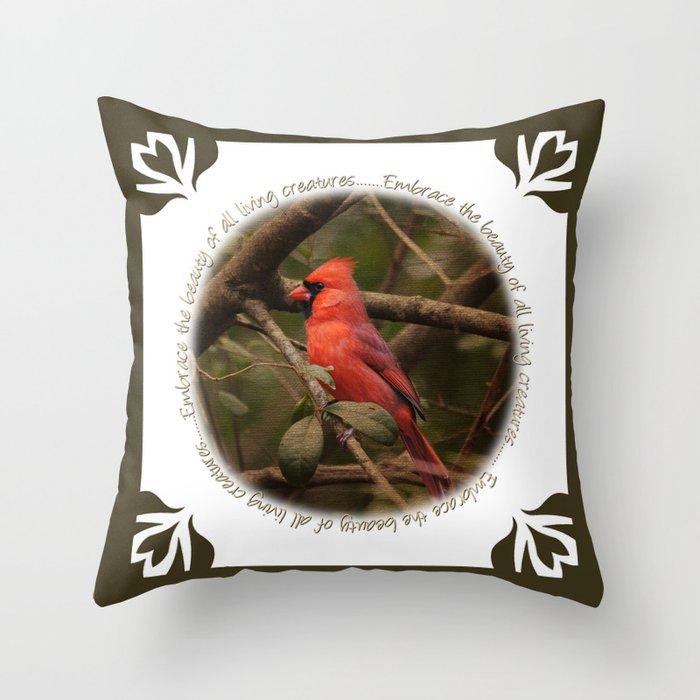 Cardinal Bird Throw Pillows : Male Cardinal Bird Throw Pillow by Jai Johnson Society6