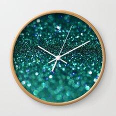 turquoise glitter Wall Clock