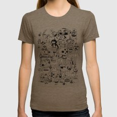 US AND THEM  Womens Fitted Tee Tri-Coffee SMALL
