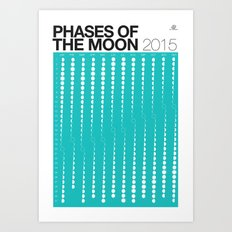 TEAL Phases of the Moon Calendar Art Print