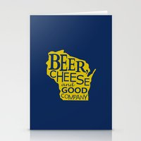 Blue and Gold Beer, Cheese and Good Company Wisconsin Graphic Stationery Cards