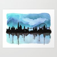 Turquoise London Skyline… Art Print