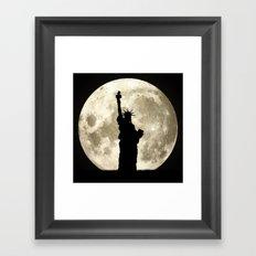 Full Moon Liberty Silhouette  Framed Art Print