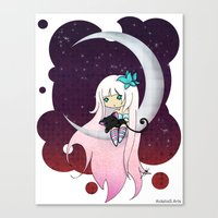 Silver Butterfly Moon Canvas Print