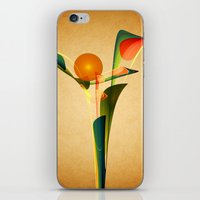 Abstract Flower - golden background iPhone & iPod Skin
