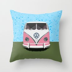 The Pink  VW Love Bus of Peace  Throw Pillow