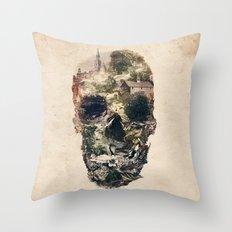 Skull Town Throw Pillow