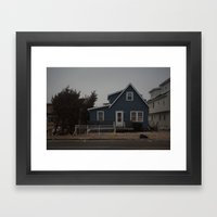 Blue Home, Orange Sticker, After Sandy Framed Art Print