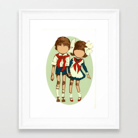 Hands clasped together Framed Art Print