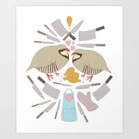 Cooking Birds Art Print