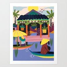 Water Village, Cambodia Art Print