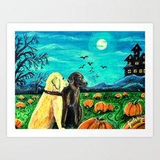 Dogs in Pumpkin Patch Art Print
