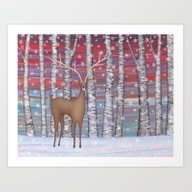 Deer In The Birch Forest… Art Print