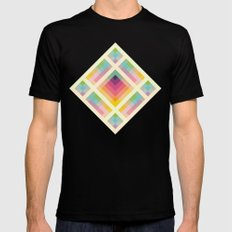 Retro Rainbow SMALL Mens Fitted Tee Black