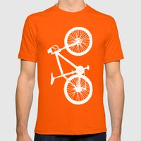 Mountain Bike Red Mens Fitted Tee Orange SMALL
