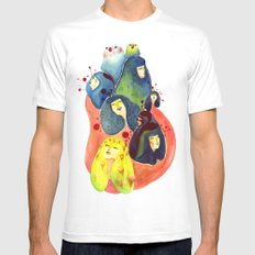 Moss and birds White Mens Fitted Tee SMALL