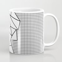 Abstraction Outline Grid on Side White Mug