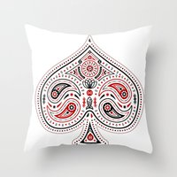 83 Drops - Spades (Red &… Throw Pillow