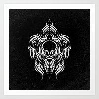 Alien Tribal Tattoo - Wh… Art Print