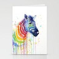 Zebra Rainbow Watercolor Stationery Cards