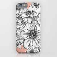 iPhone & iPod Case featuring B&W Flowers Coral by Nora