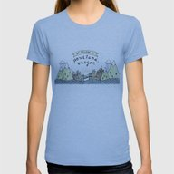 We Belong In Portland Womens Fitted Tee Athletic Blue SMALL