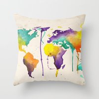 World Splash Throw Pillow