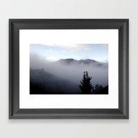 Fog covering Cradle Top Mountain  Framed Art Print