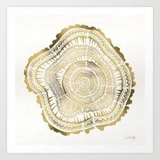 Gold Tree Rings Art Print