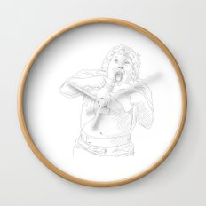 Chunk, Lawrence Cohen, Goonies black and white Wall Clock