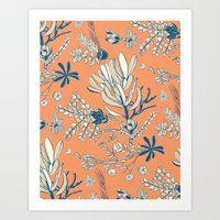 Orange Cradle Flora Art Print