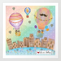I {❤} Hot Air Balloon Art Print
