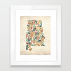 Alabama by County Framed Art Print