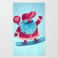 Snowboard Santa Rug
