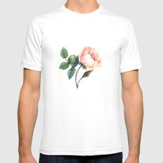 Illustration with watercolor rose White Mens Fitted Tee SMALL