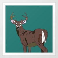Deer In The Green Art Print