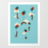 Flight of the Wiener Dogs Art Print