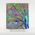 Digital Tree Neon Shower Curtain