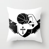 Faith Strength Heart Basketball Throw Pillow
